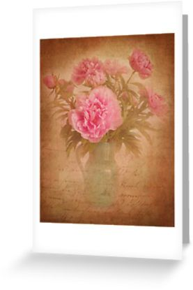 Nostalgic pink peonees by steppeland -  blank inside  Price: €1.96 - Check discounts!