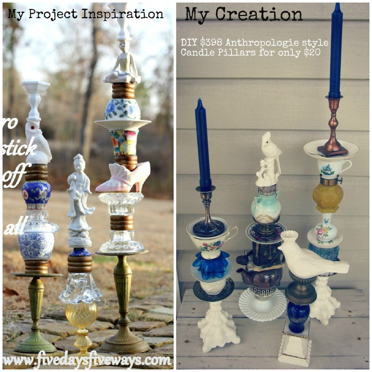 DIY Anthropologie style trinket candle pillars (eclectic candle holders made from various trinkets and treasures found while thrifting. inspired by ones at Anthropologie for $398, made for $20!)