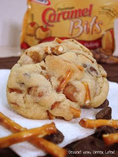 Caramel Pretzel Chocolate Chip Cookies Recipe ~ CHUNKS of pretzels, caramel bits, & chocolate chips... They're thick, chunky, sweet, & salty, and YUMMY!