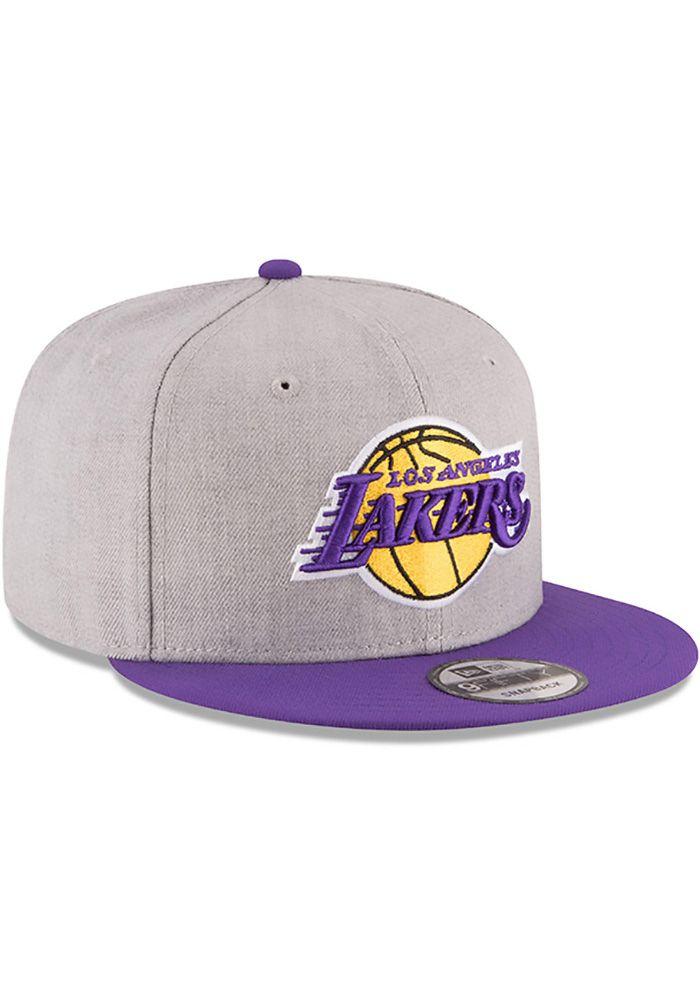 New Era Los Angeles Lakers Grey Heather 9fifty Mens Snapback Hat In 2021 Los Angeles Lakers Mens Snapback Hats New Era