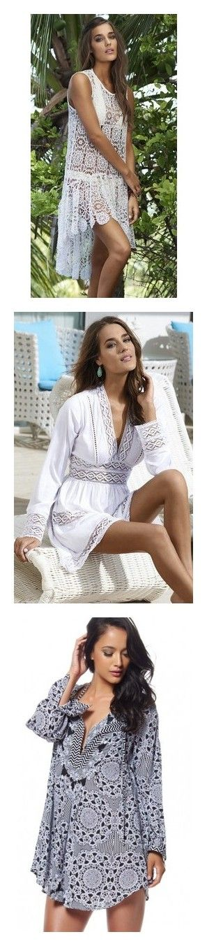 """""""Beach Cover Up"""" by michelle-251 on Polyvore featuring dresses, lace dress, pilyq, lacy dress, tops, boho tops, bohemian tops, bohemian shirts, boho style tops et shirt top"""