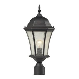 Lowes Westmore Lighting Filfield 21 In H Weathered Charcoal And Seedy Glass  Standard Post Light
