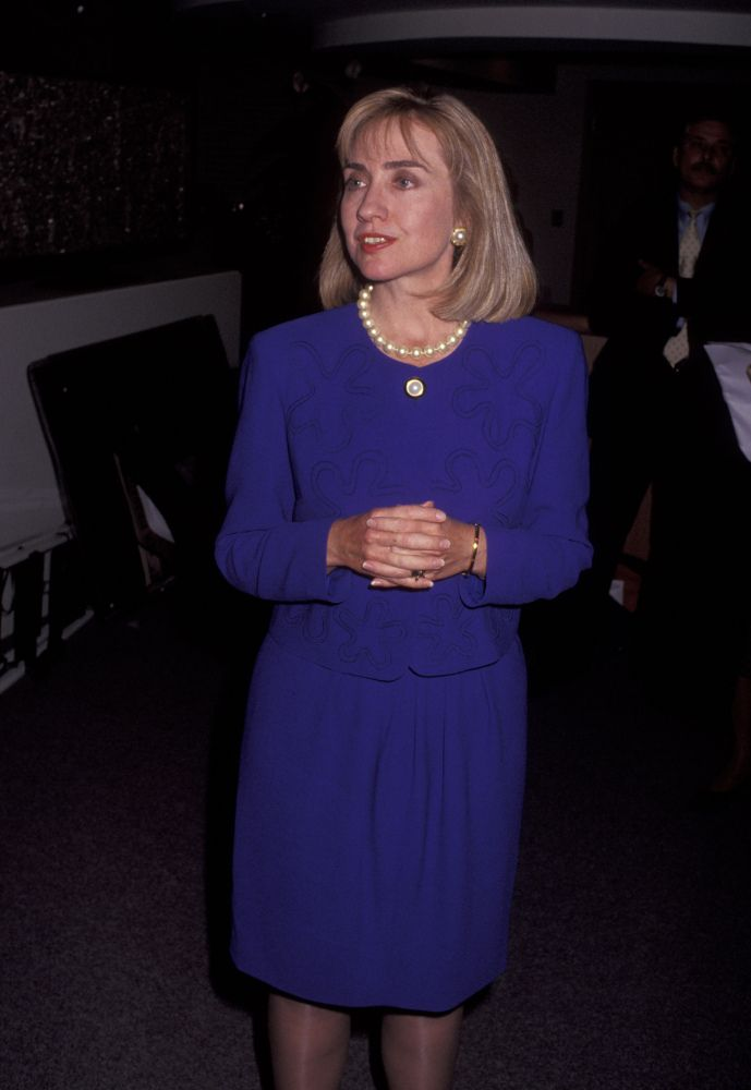 October 1992 Hillary Clinton at a Presidential rally (Getty Photo). #45. Hillary Rodham Clinton for President 2016 Wife, mom, lawyer, women & kids advocate, FLOAR, FLOTUS, US Senator, SecState, author, dog owner, hair icon, pantsuit aficionado, glass ceiling cracker, TBD