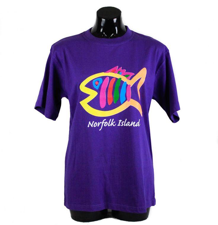 Vintage 80s, 90s, Purple, Fish Print, Norfolk Island T-shirt, 90s t-shirt, unisex, 80s t shirt, Tourist, 90s clothing, vintage t-shirt by FannyAdamsVC on Etsy