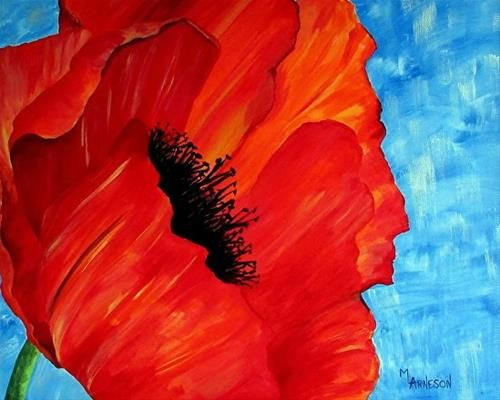 """Daily Paintworks - Acrylic """"Contemporary Poppy Painting, Floral Art, Red Flower Opening Day by Mary Arneson Art-Works of Whimsy"""" Original Fine Art for Sale © Mary Arneson💗"""