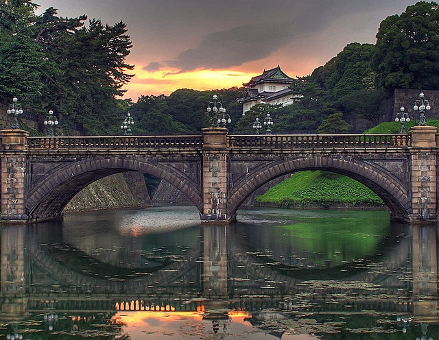 Sunset view on Nijubashi and Imperial Palace in Tokyo.