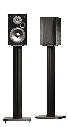 The SANUS Basic Series BF31 is a 31-inch black speaker stand for small bookshelf speakers up to 20 lbs. A solid, energy-absorbing MDF pillar supports a 5-inch by 5-inch top plate with neoprene speaker isolation pads for superior acoustic quality. ABS push-in carpet spikes add stability, and a... more details available at https://furniture.bestselleroutlets.com/game-recreation-room-furniture/tv-media-furniture/speaker-stands/product-review-for-sanus-bf31-b1-31-speaker-stands-f