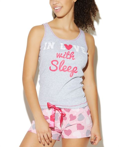In Love With Sleep Short Set | Wet Seal #valentinesday #pajamas #pink