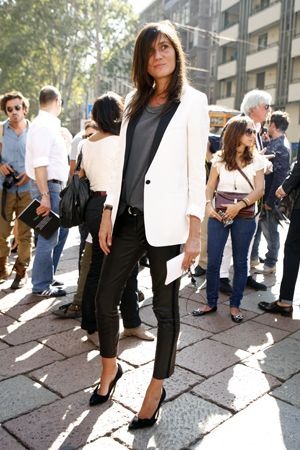 Tuxedo blazer. Skinny leather pants. Black and white. (Emmanuelle Alt)
