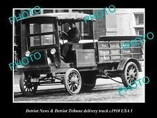 OLD LARGE HISTORIC PHOTO OF THE DETRIOT TRIBUNE NEWSPAPER DELIVERY TRUCK c1910 1 in Collectibles, Transportation, Automobilia | eBay