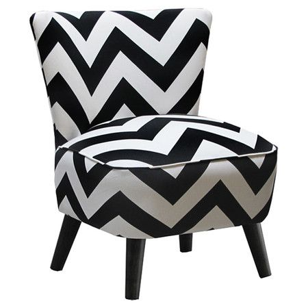 Accent chair with black and white chevron upholstery and matching piped trim. On sale at Joss & Main