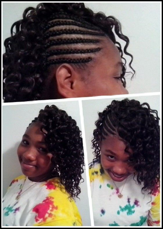 Corn Row Braids On Side With Sew In Curly Hair In 2019