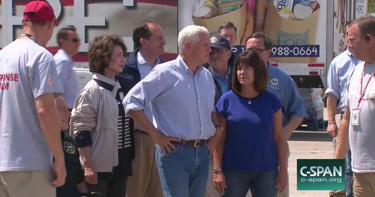 Vice President Mike Pence and second lady Karen Pence meet with volunteers in Victoria, Texas, helping flood victims recover from Hurricane Harvey.
