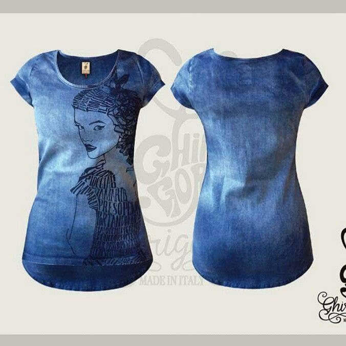 Denim t-shirt Ghirigoro Made in Italy