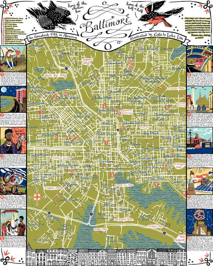 Illustrated map of Baltimore by Caleb Luke