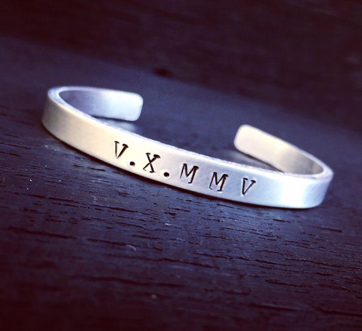 Roman Numeral Aluminum Cuff Bracelet | Roman Numeral Jewelry | Personalized Cuff Bracelet | Custom Date Cuff Bracelet | Jewelry Gift For Her by SecretHillStudio on Etsy https://www.etsy.com/listing/514166859/roman-numeral-aluminum-cuff-bracelet