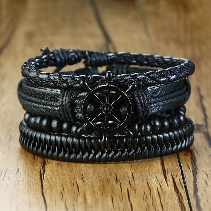 Vnox Mix 4Pcs/ Set Braided Wrap Leather Bracelets for Men Women Vintag – El Me…   – Black bracelets