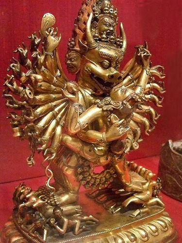 Buddhist god Dharmapala Vajrabhairava Tibet 18th century gild bronze