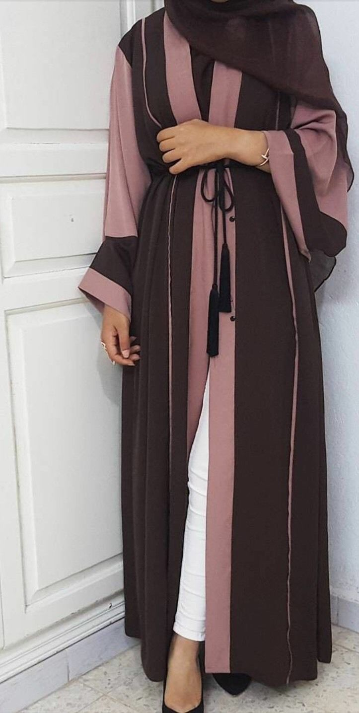 Open Abaya Dusty Rose And Chocolate - Dubai Eid Jilbab Hijab Maxi Dress Kaftan •…