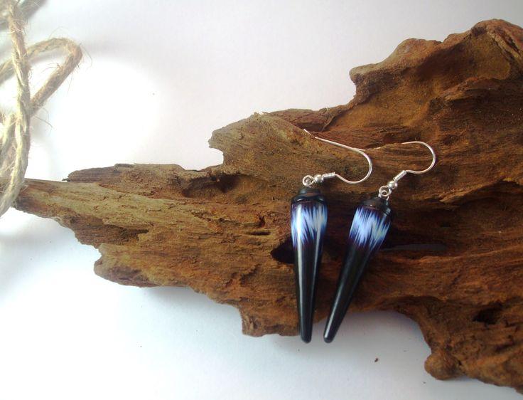 Slinky Lizard Blue Lightning Cone Earrings $65