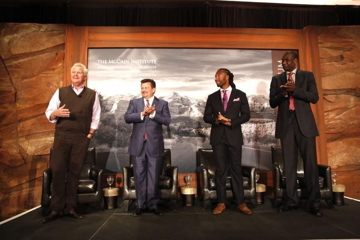The Sedona Forum 2016 featured a panel on what we can learn about leadership from sports. From left, moderator Jeffrey Immelt, the chairman and CEO of GE; Michael Bidwill, Owner, Arizona Cardinals; Larry Fitzgerald, Wide Receiver, Arizona Cardinals; and Dikembe Mutombo, CEO and President, Dikembe Mutombo Foundation.