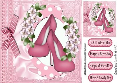 Pink court shoes with flowers in gingham frame 8x8 on Craftsuprint - Add To Basket!