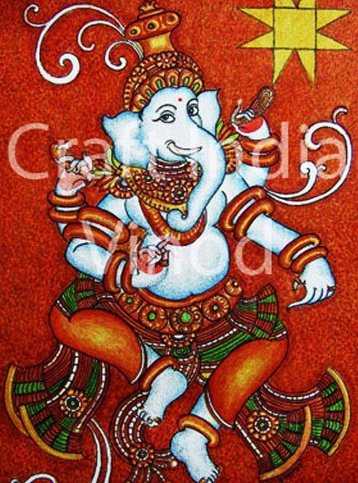 448 best kerala mural images on pinterest hindus for Mural art of ganesha