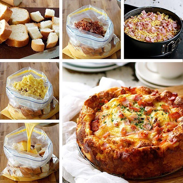 breakfast casserole, savoury french toast bake or bread pudding.  just FIVE ingredients – bacon, eggs, cheese, milk and bread. It tastes like a cross between a quiche, french toast and an omelette!😋 . INGREDIENTS 10 oz / 300g bacon, diced 6 eggs 1¼ cups milk ¼ tsp salt + black pepper 7 cups (lightly packed) bread cut into 2 cm / 1 inch cubes (preferably slightly stale) 2 cups grat...