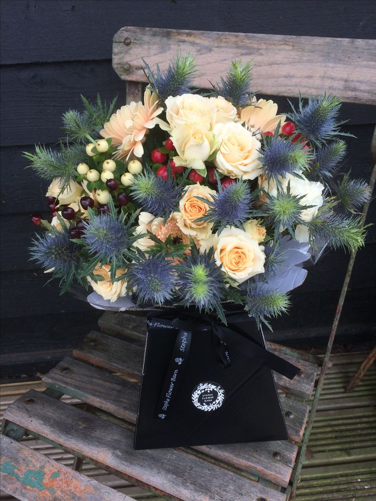 Thank You bouquet in peach and blue flowers