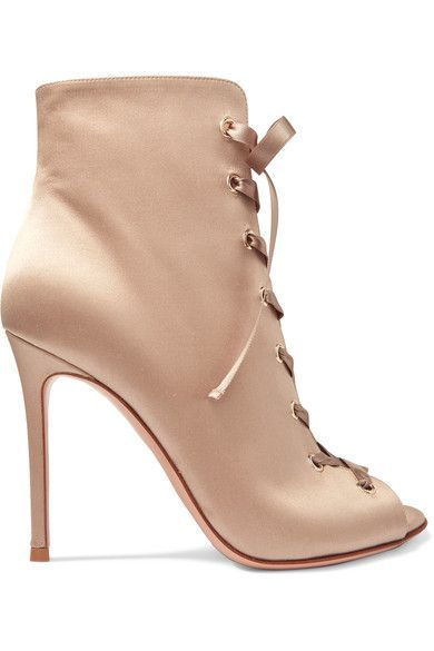 Gianvito Rossi - Lace-up Satin Boots - Neutral - IT36.5