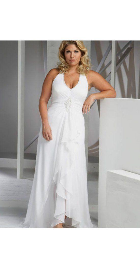 A-Linie aus Chiffon Neckholder Ärmellos mit Sweep/Pinsel Zug Reißverschluss Weiß Elegante Hochzeitskleider für Mollige