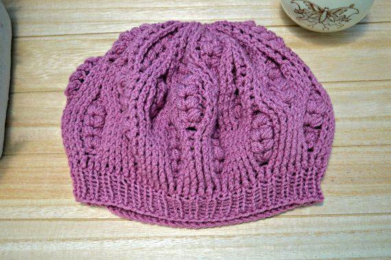 purple crochet beret for woman in retro style by IlmondodiTabitha