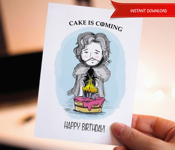 30%OFF Funny Happy birthday, Printable Birthday Card, Game of Thrones, Jon, Cute Birthday Card, Birthday Cards, Cake, Snow, Birthday by WadaDesigns on Etsy
