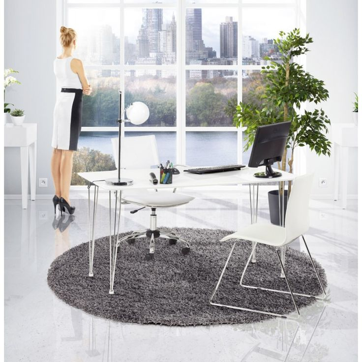 De forme rectangulaire la table design sophie est en bois blanc elle embellira un intérieur classique ou moderne avec son style rétro mobilier design