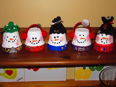 "These cute little snowmen were made from a 4"" flowerpot, paint, and some leftover craft scraps.  An easy, fun, and adorable decoration for this holiday season."
