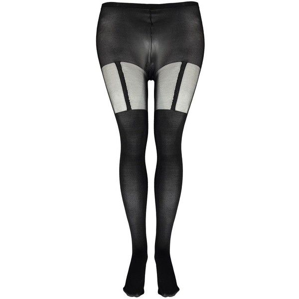 Boohoo Plus Harriet Mock Suspender Tights ($14) ❤ liked on Polyvore featuring intimates, hosiery, tights and suspender tights