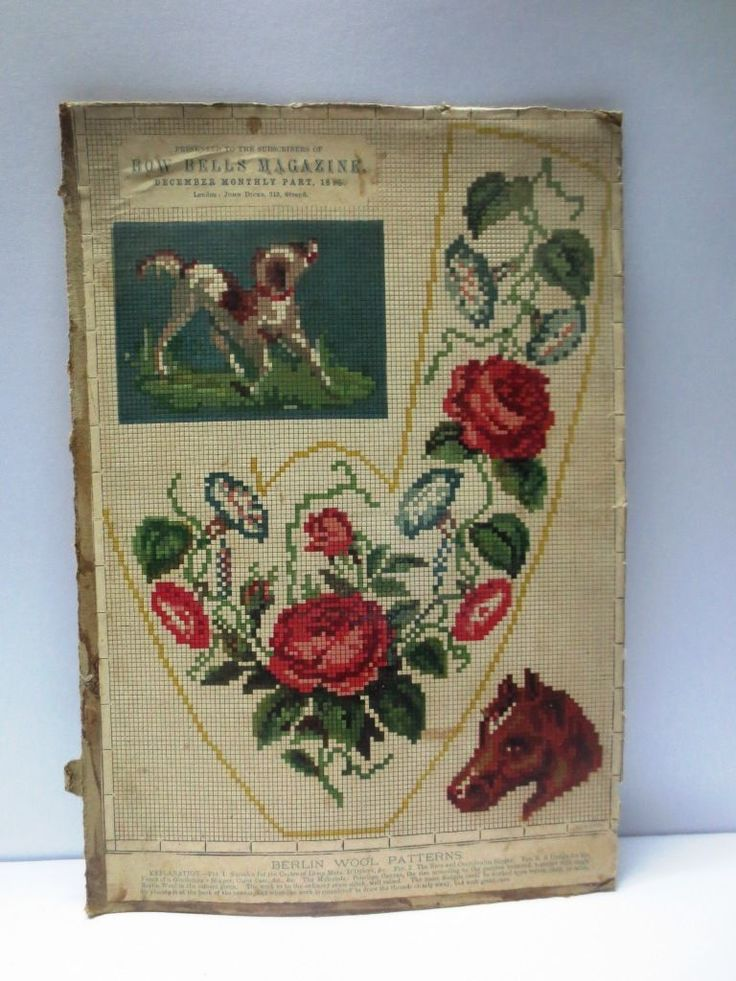 Berlin WoolWork Slipper Pattern With Roses Horse & Dog ~ Published In Bow Bells