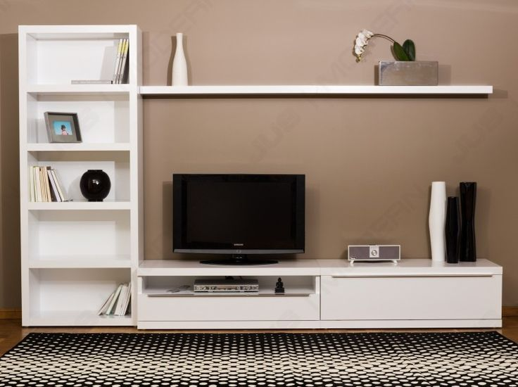 white wooden floating tv stand with racks connected by black rug on the floor and mocha