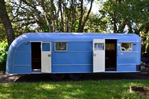 "1948 Vagabond 23'. Rare ""Tandem Axle"" Model | Blue vintage trailer - camper - travel caravan <O>"