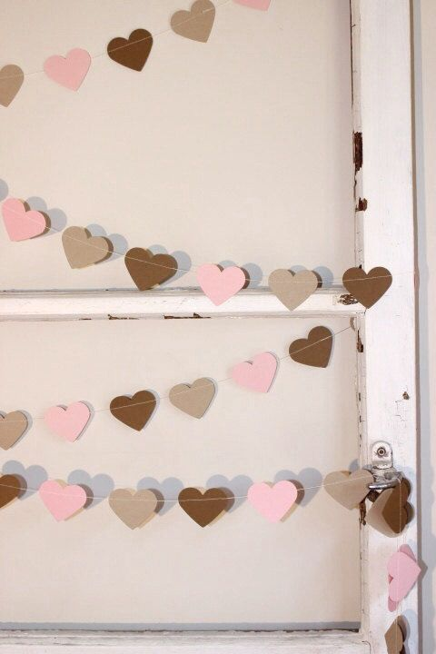 Paper Heart Garland, Pink, Kraft and Latte. Wedding - Engagement - Wall Decor - Table Decoration - Home Decor.