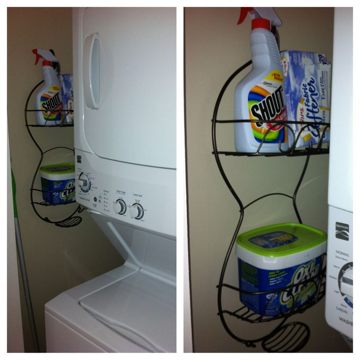 Have a small apartment laundry closet with no storage? Use a shower caddy for your small items!