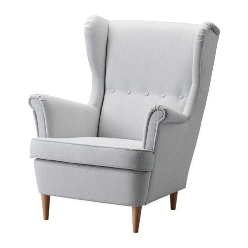 STRANDMON Wing chair, Nordvalla light grey Nordvalla light grey from IKEA. Budget option for the kitchen