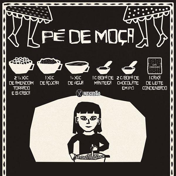 Infográfico receita de Pé de Moça, um doce muito fácil de preparar. Se gosta de pé de moleque, vai gostar mais ainda deste. Muito bom para as festas juninas. Ingredientes: amendoim, açúcar, água, manteiga, leite condensado e chocolate em pó.