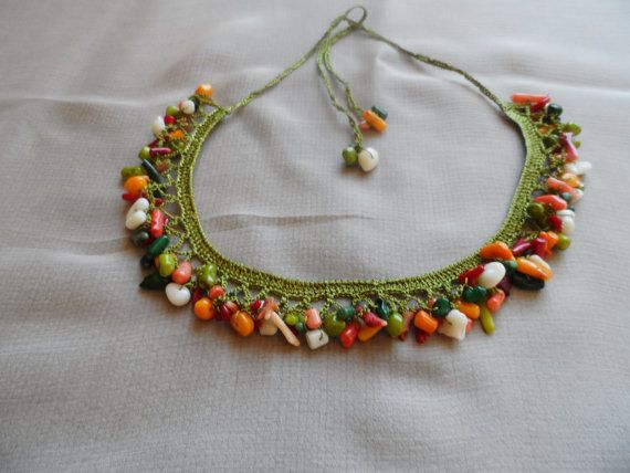 necklace crochet colored stone structure  suitable for summer days,very worthy recipient  connected to the neck  length:60 cm  length stone section:25 cm  width: 2.50 cm  Order extra:. Express Shipping via parcel (US, Canada and the EU 2-4 Days) received.