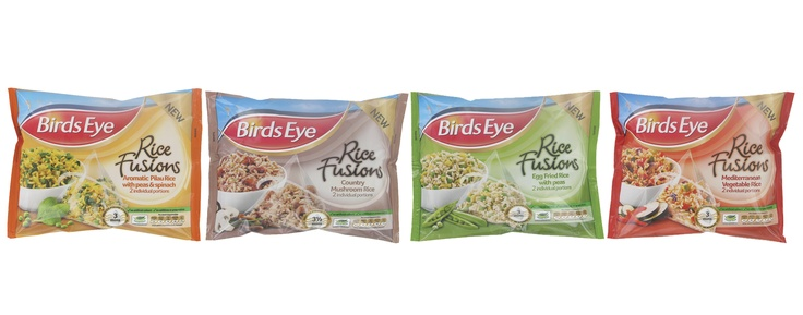 Birds Eye Rice Infusions Range   (No artificial colours, additives or preservatives)  - Aromatic Pilau Rice with Peas & Spinach  - Country Mushroom Rice  - Egg Fried Rice with Peas  - Mediterranean Vegetable Rice  (All packs contain 2 individual portions)