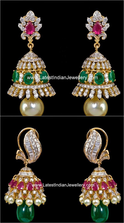 Colorful Diamond Studded Jhumkas