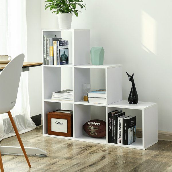 Arine 6 Cube Staircase Bookcase In 2020 Free Standing Shelves Living Room Decor Cozy Shelves