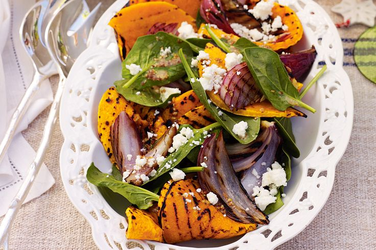 While you're cooking meat on the barbie, throw on pumpkin and onion as well so that you can make this satisfying salad as an accompaniment.