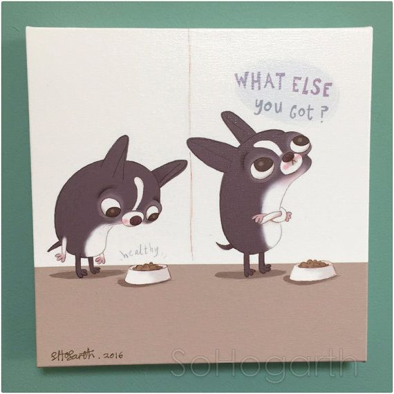 Canvas Print Boston Terrier Dog Picky Eater by SoHogarth on Etsy