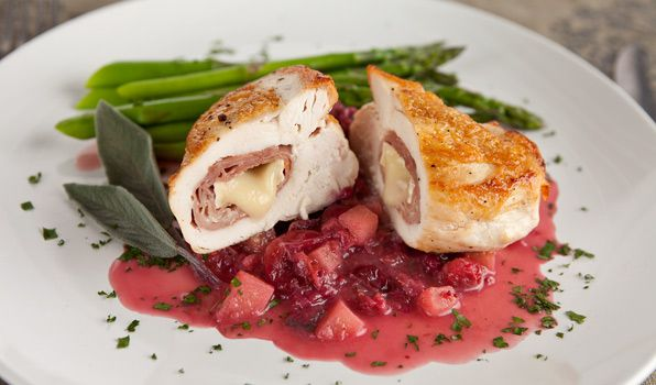 Brie-Stuffed Chicken with Cranberry Sauce